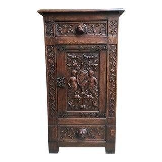 18th Century Antique English Carved Oak Renaissance Gothic Cabinet For Sale