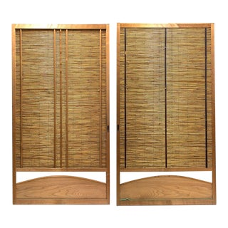 Japanese Sugi Cedar and Bamboo Yoshido Doors - A Pair For Sale