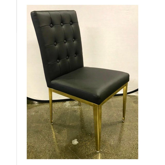 Animal Skin Round Glass and Brass Dining Table and Black Leather Chairs Set For Sale - Image 7 of 13