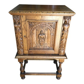 Gothic Revival Wine Bar Cabinet With Carved Front For Sale
