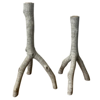 Rustic Wooden Candlesticks - Pair