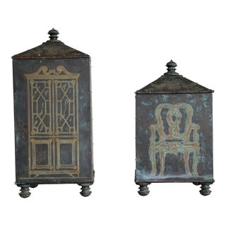 Maitland-Smith Acid-Etched Bronze Boxes With Velvet Lining - a Pair For Sale
