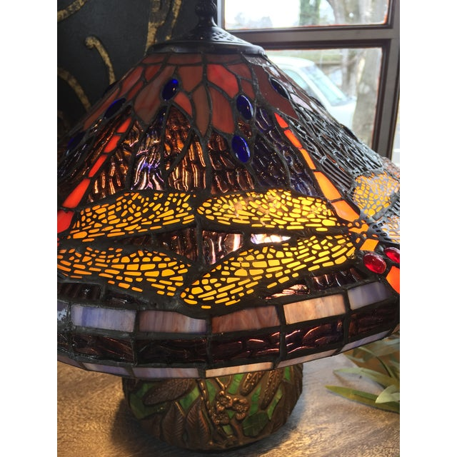 Blue Dragonfly Motif Stained Glass Lamp For Sale - Image 8 of 8