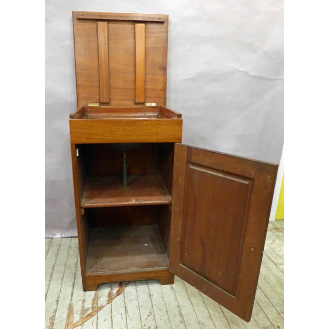 1910s English George V Mahogany Cabinet With Enameled Nautical Sink For Sale - Image 5 of 7