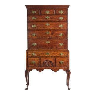 18th Century American Queen Anne Antique Tiger Maple Highboy Chest of Drawers