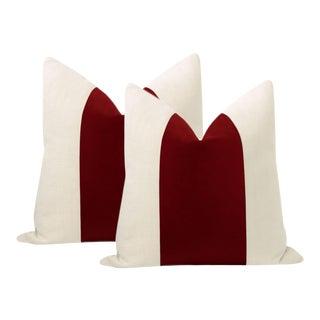 """22"""" Crimson Italian Velvet Panel & Linen Pillows - a Pair For Sale"""