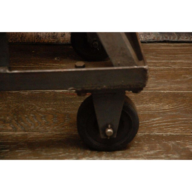Metal An Iron Adjustable Industrial Scissor Table For Sale - Image 7 of 9
