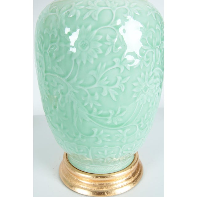 Late 20th Century Mid-Century Porcelain on Gold Leaf Base Table Lamps - a Pair For Sale - Image 5 of 10