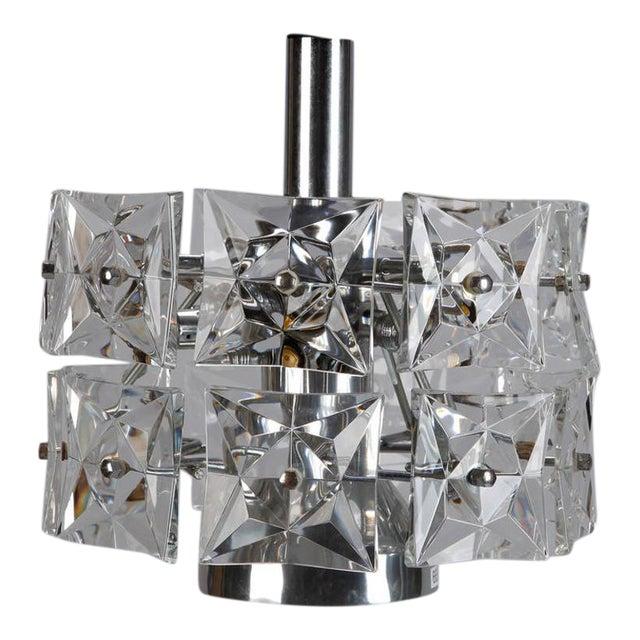 Kinkeldey Crystal Fixture with Chrome and Nickel Base For Sale