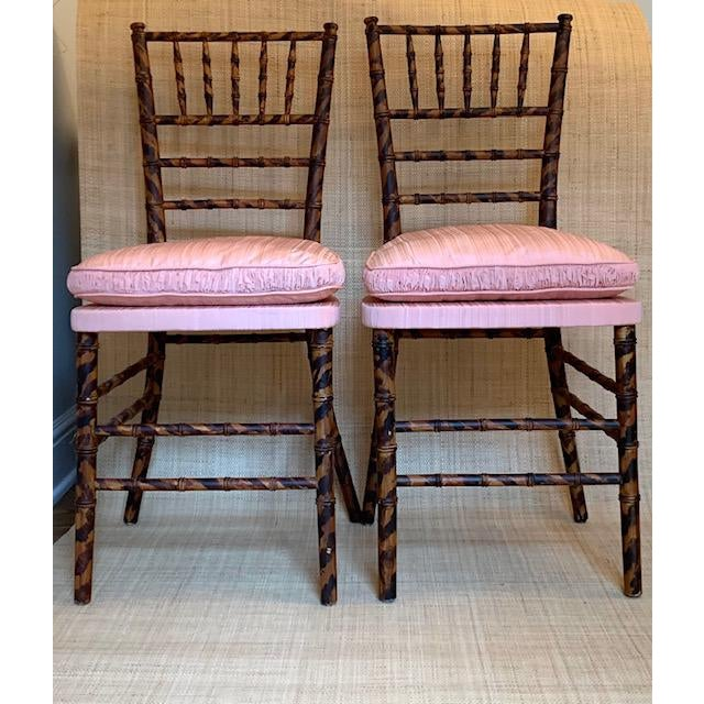 Antique Faux Tortoise Bamboo Ballroom Chairs - a Pair For Sale In New York - Image 6 of 6