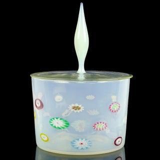 Fratelli Toso Murano White Opalescent Flower Murrine Italian Art Glass Jar Preview