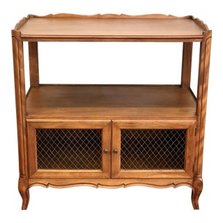 Vintage French Provincial Style Serving Cart With Mesh Grill on Doors For Sale