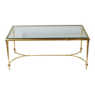 French Maison Charles Solid Bonze Coffee Table, Glass Top, C.1967 For Sale