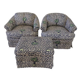 Coastal Regency Palm Tree Cheetah Upholstered Swivel Chairs and Ottoman-Set For Sale