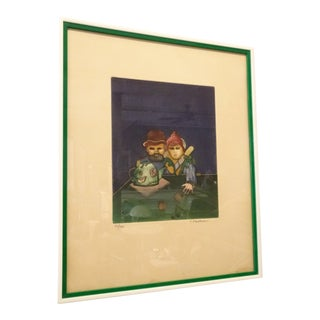 Tea Drinkers Lithograph by Abrahami, Framed For Sale