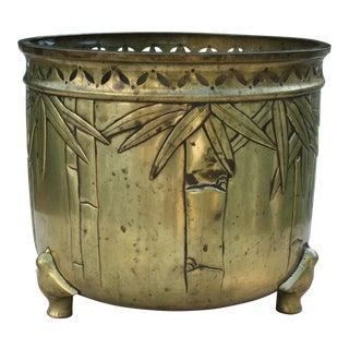 Vintage Brass Japanese Bamboo Planter / Jardiniere