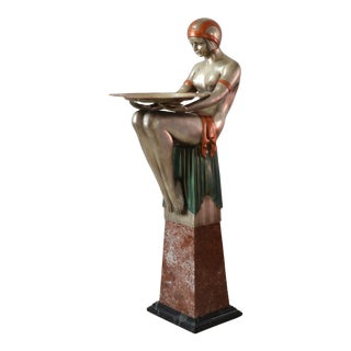 1920s Art Deco Nude Flapper Bronze Statue With Marble Pedestal Base For Sale