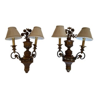 Maitland Smith Floral Motif Brass Sconces - a Pair For Sale