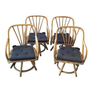 20th Century Boho Chic Rattan Swivel Arm Chairs - Set of 4 For Sale