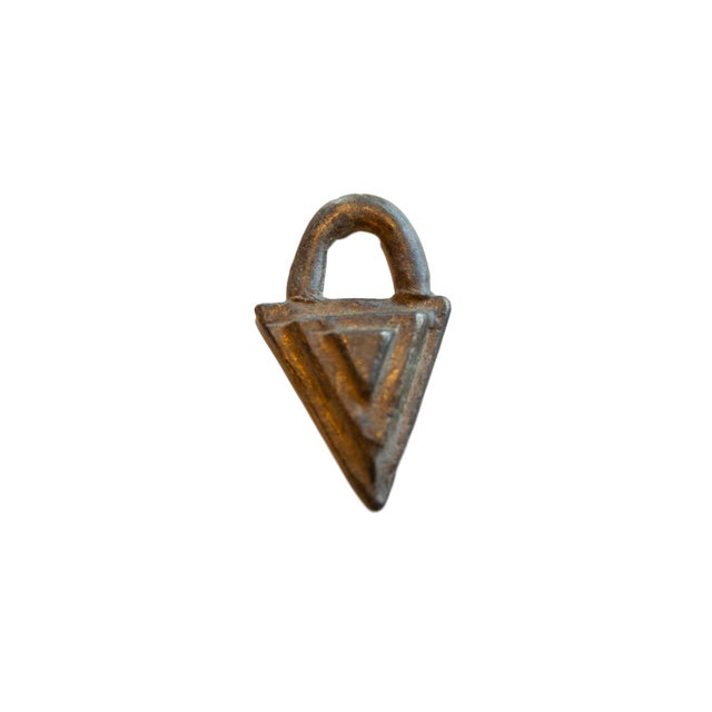 Vintage African Bronze Decorative Triangle For Sale In New York - Image 6 of 6