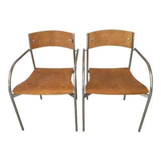 Bernhardt Birds Eye Maple & Chrome Chairs - a Pair