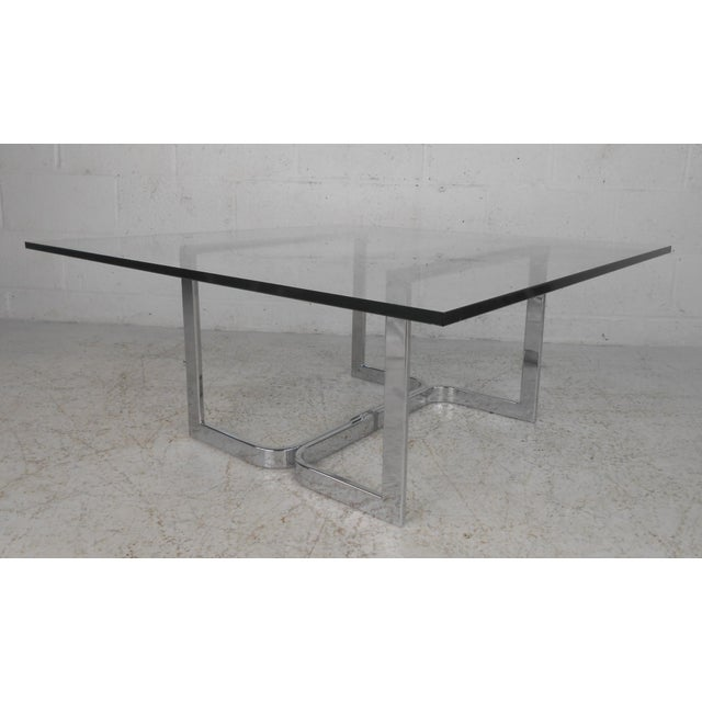 Mid-Century Modern Chrome and Glass Coffee Table For Sale - Image 11 of 11