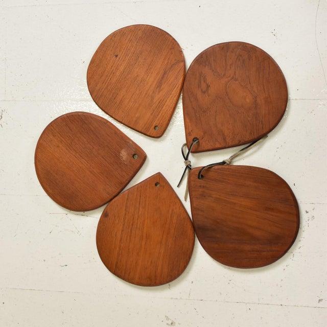 Teak Mid Century Danish Modern Set of 5 Decorative Teak Plates For Sale - Image 7 of 7