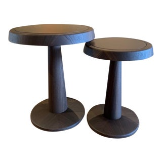 Contemporary Poliform Wood and Leather Nesting Tables - a Pair For Sale