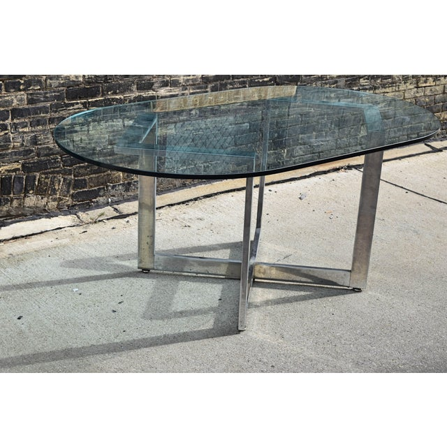 Vintage Chrome Dining Table With Glass Top For Sale - Image 5 of 8