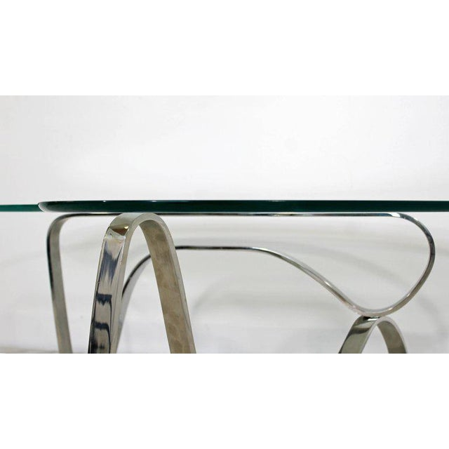 Silver Mid-Century Modern Sculptural Chrome Kidney Glass Coffee Table Pace Era, 1970s For Sale - Image 8 of 10