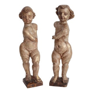 Antique Northern Italian Carved Wood Putti Angels Sculptures - a Pair For Sale