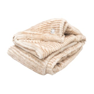 Modern Ultra Plush Sheared Fawn Faux Fur Throw For Sale