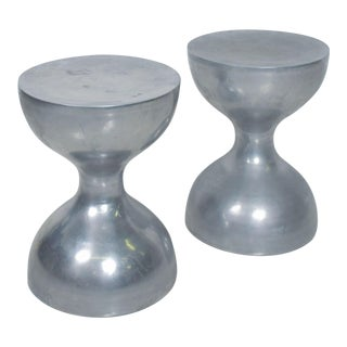Modern Hourglass Stools, Pedestal or Side Table in Aluminum 1970s - a Pair For Sale