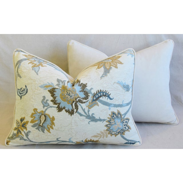 "Designer Italian Floral Linen Velvet Feather/Down Pillows 24"" X 18"" - Pair For Sale - Image 11 of 13"