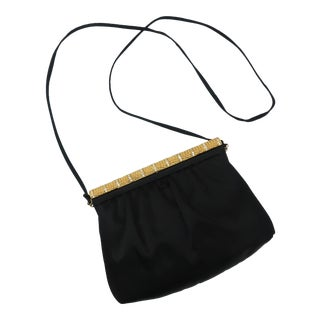 C.1980 Givenchy Black Satin Evening Handbag With Rhinestone Closure For Sale