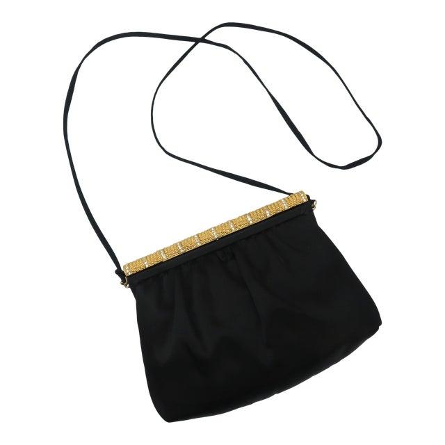 C.1980 Givenchy Black Satin Evening Handbag With Rhinestone Closure For Sale