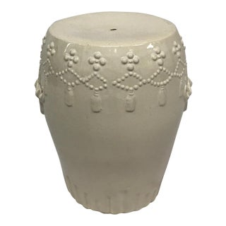 White Ceramic Asian Garden Stool