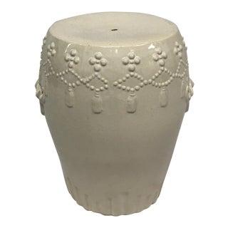 White Ceramic Asian Garden Stool For Sale