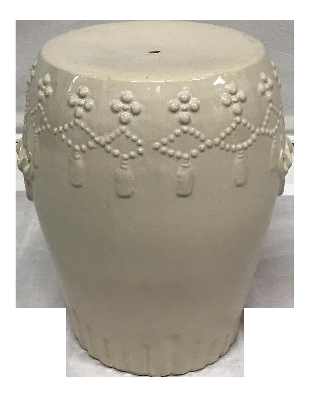 White Ceramic Asian Garden Stool