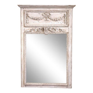 19th Century French Carved Oak Painted Trumeau Mirror From Normandy For Sale