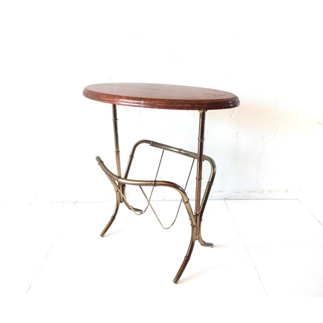 Mid-Century Modern Vintage Mid-Century Modern Brass Faux Bamboo Side Table & Magazine Rack For Sale - Image 3 of 10