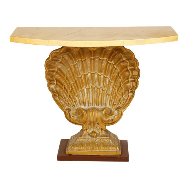 Grosvenor House Vintage Shell Console with Faux Marble Top For Sale