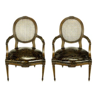Pair Louis XVI Mahogany & Cane Arm Chairs With Tortoiseshell Leather For Sale