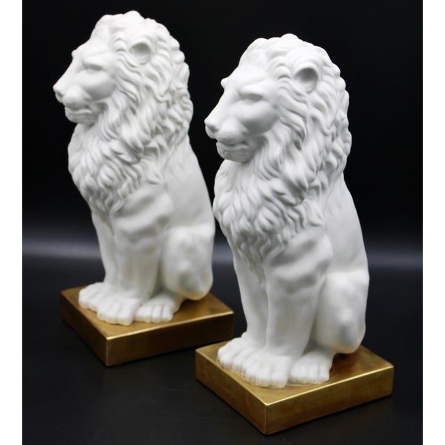 Ceramic Italian Mottahedeh Ceramic Mantle Lions - a Pair For Sale - Image 7 of 13
