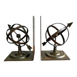 Brass Sundial Armillary Globe Bookends