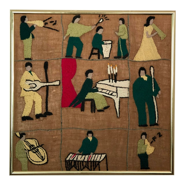 Mid-Century Embroidered Tapestry of Musicians For Sale