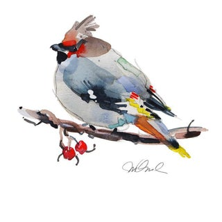 Bohemian Waxwing, Giclee. Print. Watercolor For Sale