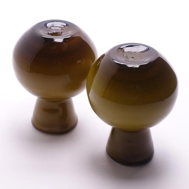 Green 1960s Vintage Ekenas Glasbruk Olive Green Cased Glass Bud Vases — a Pair For Sale - Image 8 of 9