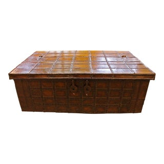 19th Century Raj Period Elm With Iron Cladding Trunk Coffee Table For Sale