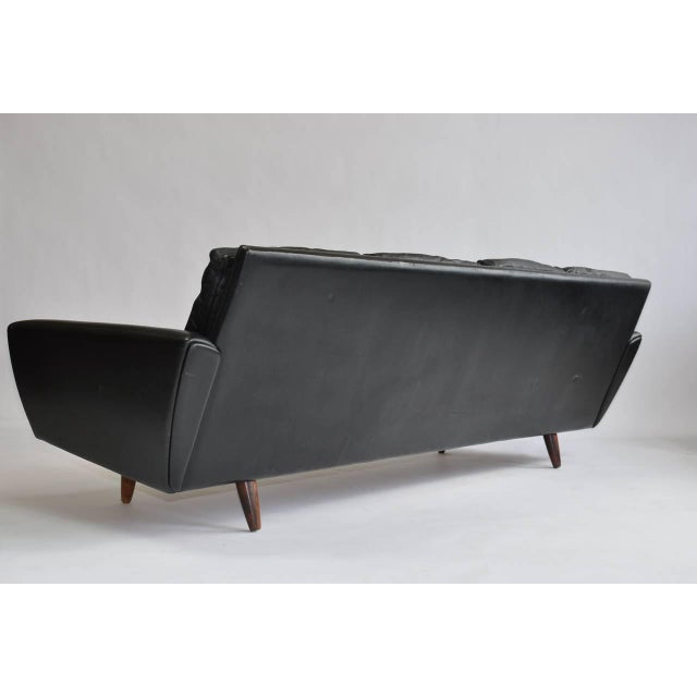 Danish Modern Danish Leather Sofa with Rosewood Legs For Sale - Image 3 of 10